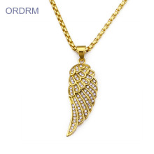 Punk Iced Out Mens Gold Angel Wing Collier