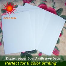 Papel de cartón doble con respaldo gris para hacer cajas (DP-003)