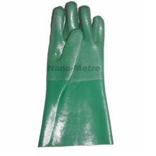 NMSAFETY Algodão intertravamento completo revestido luva de PVC verde areia acabamento 27 cm