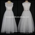 Real Photos A-line Flower Girl Dress Floor Length Satin Girls Party Dress With Crystal Sash Wholesale Dress