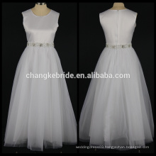 Real Photos A-line Flower Girl Dress Floor Length Satin Girls Party Dress With Crystal Sash Wholesale Dress
