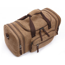 8642 Blue Coffee Black Kahki Zatous Oversized Canvas Travel Duffel Bag with Big Capacity Weekend Bag