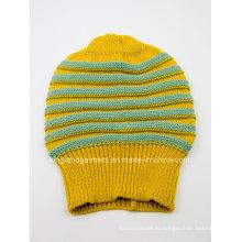 100% акриловая полосатая желтая вязаная шапка