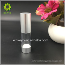 Hot Sale 15ml small AS plastic Airless pump bottle transparent cosmetic packing bottle