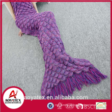 Promotion Soft Crocheted Mermaid Tail Blanket with tassels