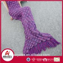 Продвижение мягкий крючком русалки хвост одеяло с кистями