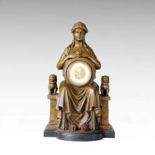 Часы Статуя Королева Лев Белл Бронзовая скульптура Tpc-031