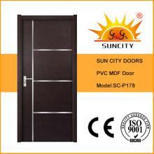 Portas de madeira interiores comerciais usadas do PVC do vidro (SC-P178)