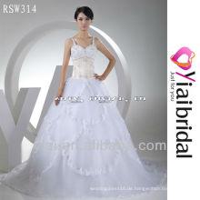 RSW314 Perlenspitze gestickte Hochzeitskleid Korsett Champagner