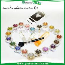 Atacado 20 glitter tatuagem tinta kit de tatuagem temporária, glitter tatuagens temporárias de pintura corporal