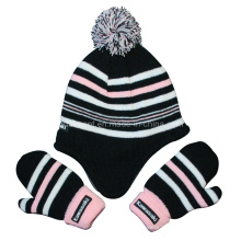 Striped Acrylic POM Polar Fleece Lining Glove and Earflap Knitted Beanie (TRK042)