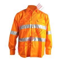 Cinta reflexiva ignífuga 100% de las camisas del trabajo del algodón para industrial