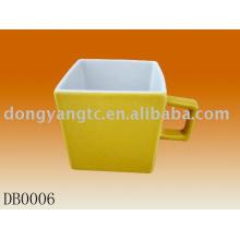 180cc color glazed ceramic square mug