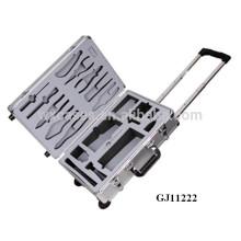 boîte à outils trolley solide en aluminium avec insert mousse personnalisé sur l'affaire couvercle & affaire bas