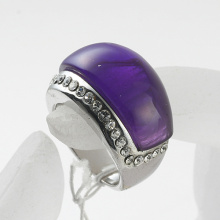 rhodium Plated Rhinestones purple resin Finger Rings For Man and Woman wholesale