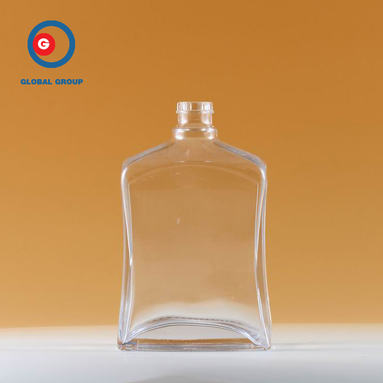 Narrow Mouth Transparent Bottle Square Shape Glass Bottle