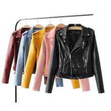 Fashionable Newest Commodity Fancy Good Quality Fall Autumn Biker Zip Leather Jackets for Ladies