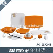 Jogo de jantar quadrado da porcelana 65PCS com projeto alaranjado dos às bolinhas
