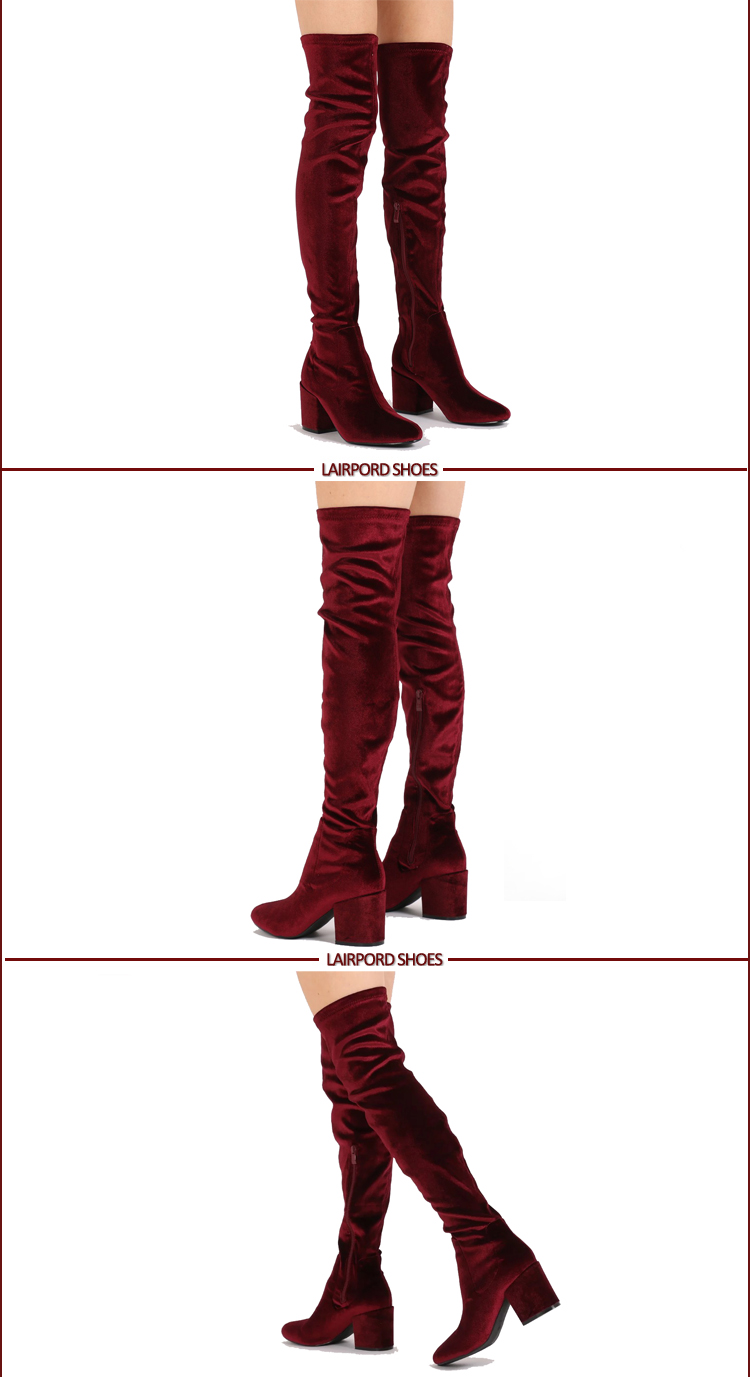 over knee women red suede long boots