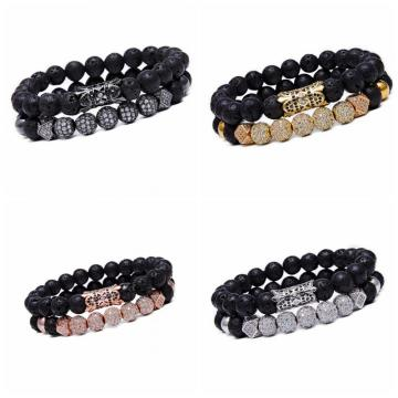 8MM Lava Rock Beads Bracelet for Men Women Essential Oil Beaded Healing Anxiety Bracelets Gift for Father's Day