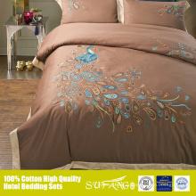 Couverture de couette de drap de lit en coton égyptien paon animé définit OEM de lin