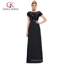 Grace Karin Short Sleeve Sequined Satin Long Black Evening Dress GK000079-1