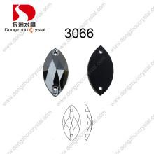 Atacado 9 * 18mm Navette Cristal De Vidro Pedras Diomand Preto Costurar em Pedras para Sapatos