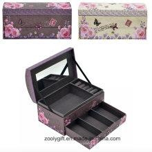 Caja de presentación de joyería de regalo de papel de lujo con espejo y bandeja