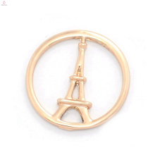 High quality custom jewelry metal rose gold decorative Eiffel Tower window floating charms locket plates
