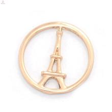 Alta qualidade da jóia do metal personalizado subiu de ouro decorativo Torre Eiffel janela encantos flutuantes placas medalhão