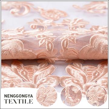 Broderie tricotée de qualité supérieure Tissu de mariée en tulle à fleurs
