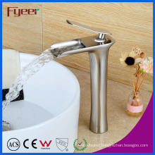 Fyeer Hot Sale Brush Nickle High Arc Brass Waterfall Faucet