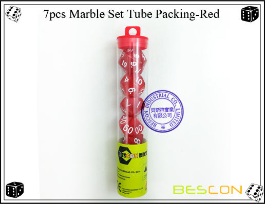7pcs Marble Set Tube Packing-Red