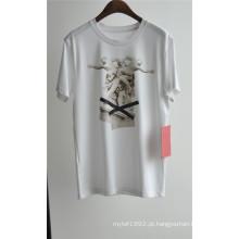 Men's Design de Moda Impresso Algodão T-shirt Branco para o Verão