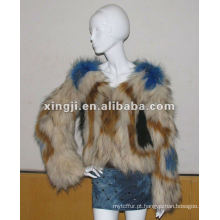 casaco de pele real do cão de guaxinim da malha
