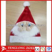 Logo customized Santa hat promotional plush Christmas hat