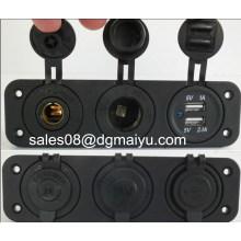 Double USB 12V Merit Fridge & 12V Cigarette Power Socket Flush Mount