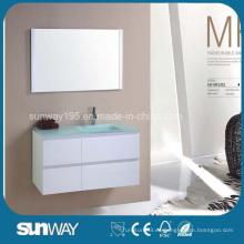 Venta caliente MDF muebles de baño con fregadero de cristal (SW-MF1201)