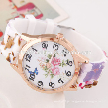 Feito na China preço baixo personalizado de design mulheres relógios baratos do silicone do vintage