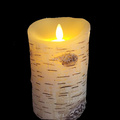 Set de 2 Birch Bark sans flamme cire led bougie de pilier