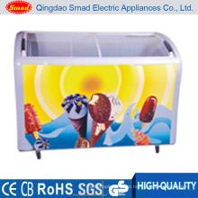 Congelador de vidro curvado comercial da caixa da exposição do gelado da porta