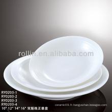 Ensemble de cuisine en porcelaine fine et hôtelière série Double Line série, ensemble à manger, vaisselle en couleur unie