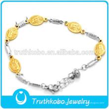 Joyería al por mayor de acero inoxidable Religiosa Virgen María Pulsera de alta calidad de plata de oro pulsera católica joyería