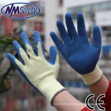 NMSAFETY 10 gauge luva de algodão com luva de látex luvas de mão de segurança luva de trabalho