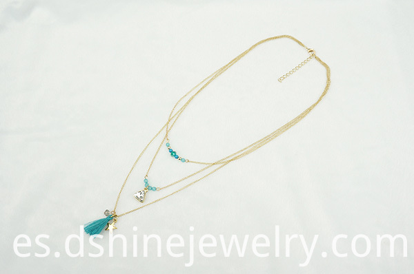 gold plated chain necklace, crystal pendant necklace