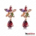 Rose Gold Plate Flower Zircon Dangle Earrings Er0165-a