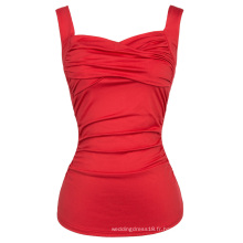 Belle Poque Sexy sans manches Sweetheart Classic Red Pinup Tank Tops BP000341-2