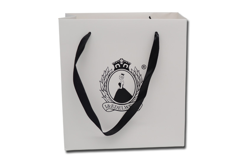 custom white paper shopping bag
