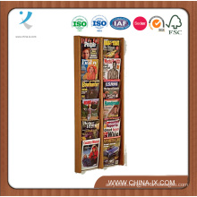 6 Tiered 12-Pocket Wood Literature Holder for Wall Mount Use