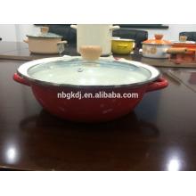 Cápsula de esmalte poco profundo / olla de esmalte / olla esmaltada con tapa de vidrio